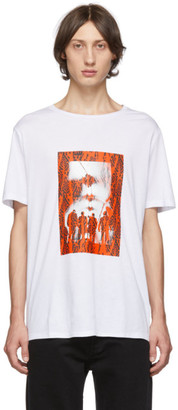 Neil Barrett White and Red Chaotic Subway Loose T-Shirt
