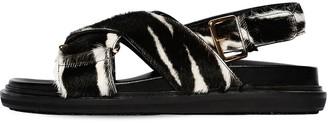 Marni 30mm Crisscross Pony Leather Flat Sandal