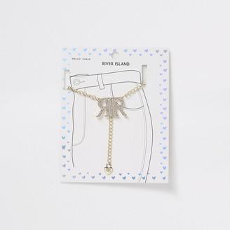 River Island Girls gold tone diamante RI logo wallet chain