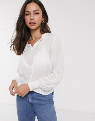 JDY Rise long sleeve pussybow blouse-White