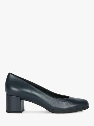 Geox Women's New Annya Leather Block Heel Court Shoes