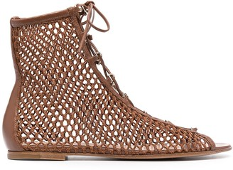 Gianvito Rossi Woven Lace-Up Sandals