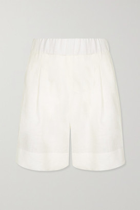 ASCENO Zurich Organic Linen Shorts - Off-white