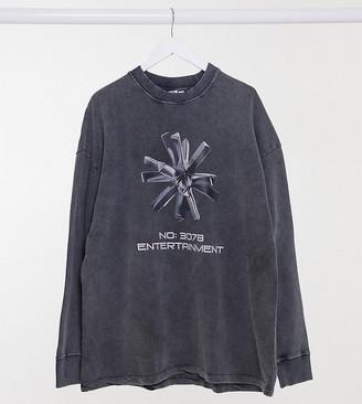 Collusion Plus Exclusive acid wash sweatshirt with graphic print in dark grey