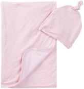 Angel Dear Sheep Print Swaddle Blanket & Hat 2-Piece Set (Baby Girls)