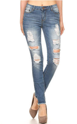 Muse Apparel Distressed Skinny Jeans