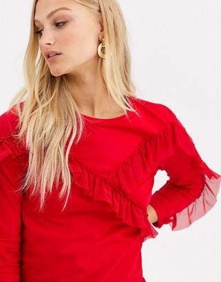 Monki ruffle panel sweatshirt