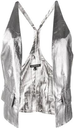 Ann Demeulemeester Metallic-Print Open-Front Waistcoat
