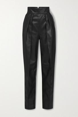 Maticevski Social Pleated Leather Straight-leg Pants - Black