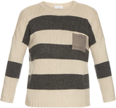 Brunello Cucinelli Metallic-pocket striped cashmere sweater