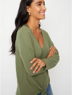 George Khaki Waffle Textured Knot Front Top