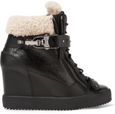 Giuseppe Zanotti Shearling-trimmed leather wedge sneakers