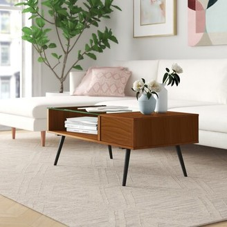 """Foundstoneâ""""¢ Dexter Coffee Table with Storage Foundstonea Table Base Color: Acorn, Table Top Color: Glass"""