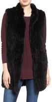 Women's Love Token Long Genuine Rabbit Fur Vest