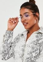 Missguided Quay X Chrissy Gold Glitter Jezabell Sunglasses