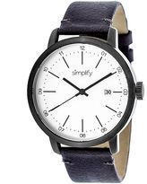 Simplify Mens The 2500 White Dial Leather-Band Watch with Date SIM2503