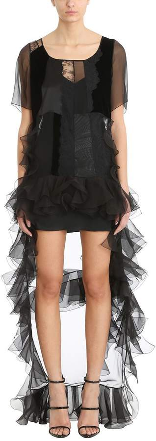 Givenchy Black Asymmetrical Shortsleeved Dress