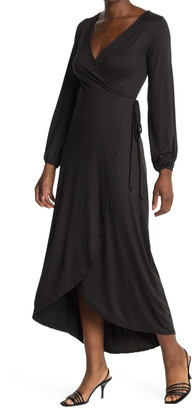 Velvet Torch Long Sleeve Wrap Maxi Dress