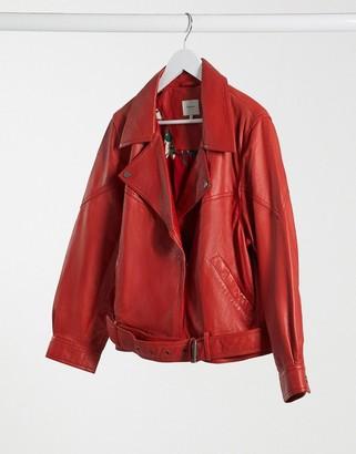 Pepe Jeans nicole biker jacket in red