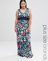 Club L Plus Maxi Dress With Wrap Front In Floral Print