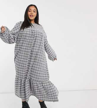 ASOS DESIGN Curve check midi smock dress with pephem