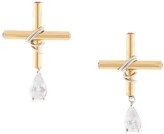 Wrap Crossdrop Crystal earrings