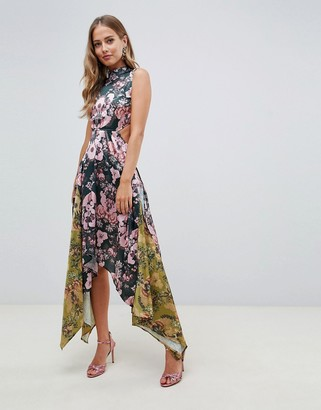 Asos Design DESIGN mixed print midi dress with hanky hem and lace up back