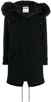 Moschino faux-fur hooded coat