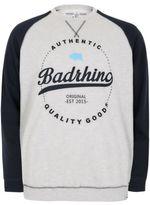 Yours Clothing BadRhino Mens Marl & Raglan Logo Detail Sweatshirt Sweater