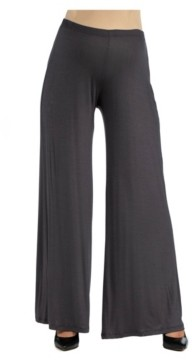 24Seven Comfort Apparel Women's Comfortable Solid Color Maternity Palazzo Pants