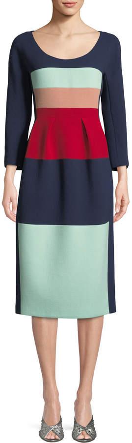 DELPOZO Scoop-Neck Long-Sleeve Striped Wool Midi Cocktail Dress