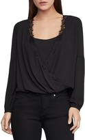 BCBGMAXAZRIA Lace-Trimmed Faux Wrap Top