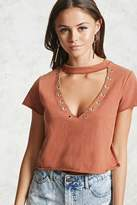 Forever 21 Plunging Grommet Crop Top