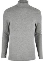 River Island MensGrey muscle fit roll neck sweater