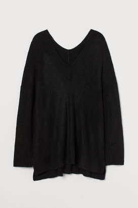 H&M H&M+ V-neck Wool-blend Sweater - Black