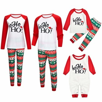 Whycat Matching Family Pajamas Sets Christmas PJS with Letter and Plaid Printed Long Sleeve Tee and Pants Loungewear for Family Women Men Kids Baby