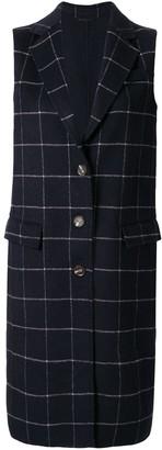 CK Calvin Klein check double weave long coat