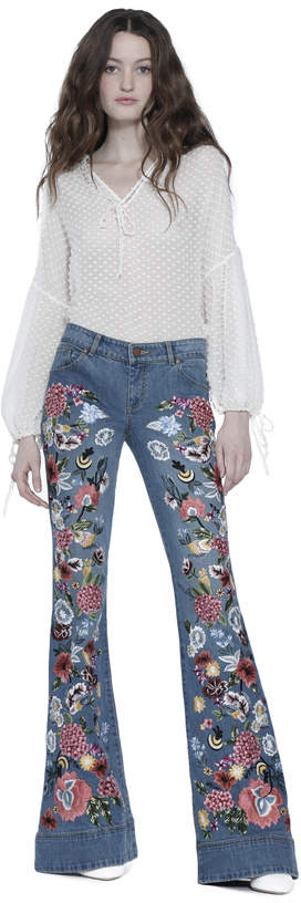 Alice + Olivia Riley Embroidered Low Rise Bell Jean