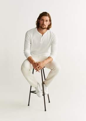 MANGO MAN - Structured henley collar t-shirt khaki - XS - Men