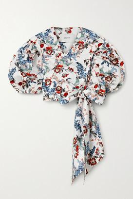 Erdem Cyllene Cropped Floral-print Cotton-poplin Wrap Top - White