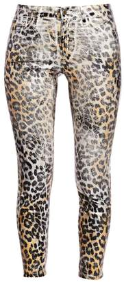 L'Agence Margot High-Rise Foil Leopard-Print Skinny Jeans