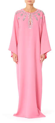 Carolina Herrera Embellished-Georgette Cape-Sleeve Caftan