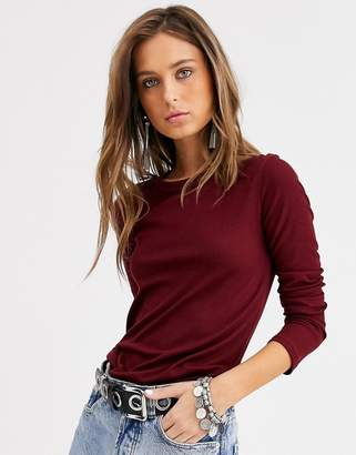 Bershka ribbed long sleeved top in burgundy-Red