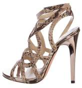 Jimmy Choo Embossed Leather Cage Sandals