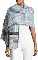 Neiman Marcus Geometric-Print Knit Scarf, Blue/Multi