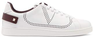 Valentino Perforated Low-top Leather Trainers - Mens - White