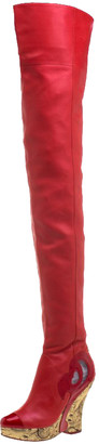 Chanel Red Leather Metallic Gold Brocade Wedge Thigh High Boots Size 39