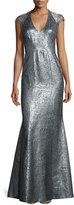 Theia Cap-Sleeve Metallic Gown