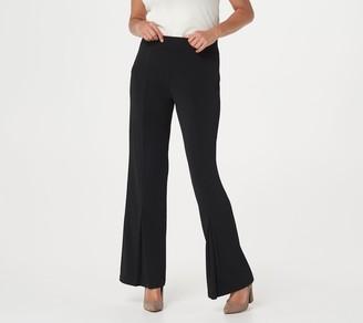Susan Graver Regular Liquid Knit Pull-On Pleated Flare Leg Pants