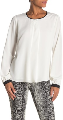 Calvin Klein Long Sleeve Piped Blouse